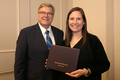 Catherine Floyd of Pointe Coupee Parish graduates from LSU AgLeadership Class XV. Presenting her graduation certificate is LSU AgLeadership coordinator Bobby Soileau, Ph.D.