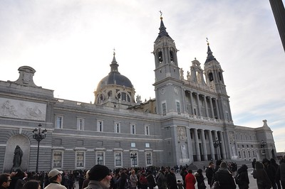 The Cathedral de Almudena is Madrid's newest cathedral. Started in 1883, construction finished in 1993. Isabella says there was no work done on the cathedral during World War I and World War II.