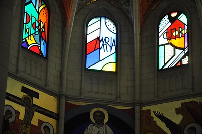 This close up of the stained glass inside the Cathedral de Almudena shows the modern, angular style used in most of the windows.
