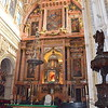 The main alter of the Mezquita. The wooden sculpture on the right is made from mahogany brought to Spain from Cuba.