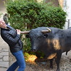 Class XV member Caroline Salisbury feigns a mortal wound at the horns of El Toro near the Córdoba Bullfighting Museum.
