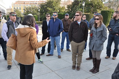 Madrid tour guide Isabella shares the history of the Royal Palace with LSU Ag Leadership Class XV members. Jason Burke, Stephen Simoneaux, Lance Gaudet, Aaron Lee, Brian Barham and his wife, Laura, listen closely.