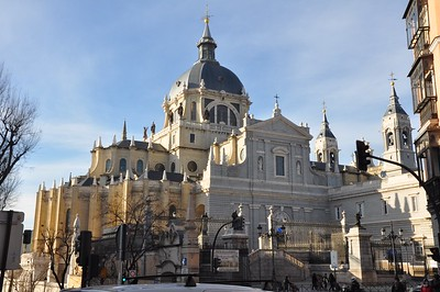 This is the rear view of the Cathedral de Almudena.