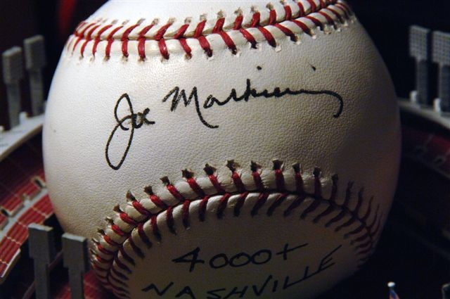 Official Joe Markiewicz Autographed Baseball, presented to the first person to ever hit a homerun during a Freedom Fighter Baseball game. (Hint: His last name begins with Rush, Hint2: He's hit several others)
