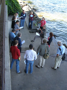 """The review team gathered first at the UW Social Science Building and then moved to the pier of the Hasler Lab to hear about research on Lake Mendota, from long-term measurement of water chemistry to """"School Yard LTER,"""" a  program involving elementary-age students in long term research."""