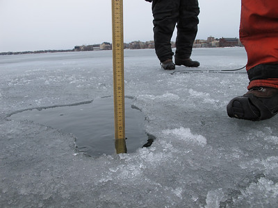 The ice thickness on February 22nd, was 17 centimeters (or just under 7 inches). Bier says that the Madison lakes usually have 12 to 18 inches of ice (when they're frozen) this time of year.
