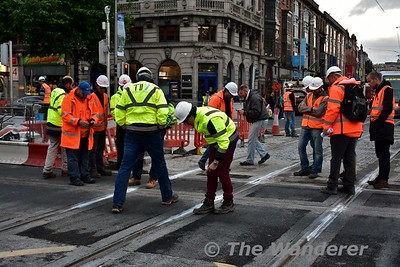 The new trackwork is inspected at O'Connell St. Thurs 30.06.16