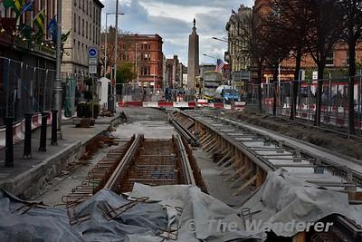 New LUAS Crosscity track on Parnell Street. Sun 24.04.16
