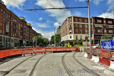 Parnell Street looking west as the tram line turns into Dominick Street. Sat 24.06.17