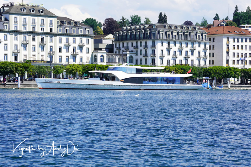 A sleek and cool Cruise Boat that offers Panoramic Cruises on Lake Lucerne - a highly recommended experience!