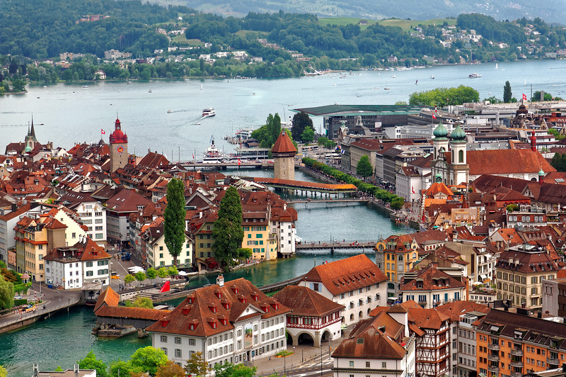 A breath taking aerial panoramic perspective of the unspeakable beauty of LUCERNE - often considered by the Swiss folks as 'The most beautiful city in Switzerland'!