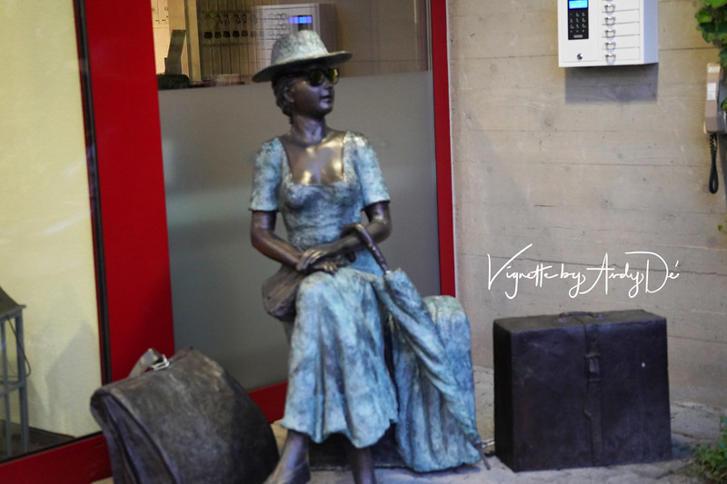 The 'Swiss Lady Road Warrior' who greets all visitors to the Hotel Matt - rendered in bronze, and lends character to this delightful family run Hotel!