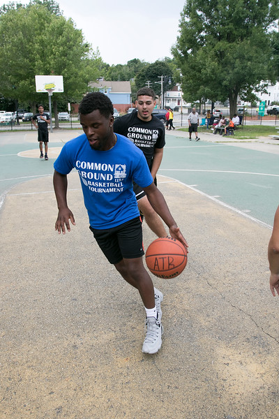The LUK 20th Annual Common Ground Basketball Tournament was held on Saturday, August 10, 2019 at JoAnne Fitz Memorial Playground in Fitchburg. Player Antonio Ware drives to the basket during the tournament. SENTINEL & ENTERPRISE/JOHN LOVE
