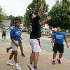 The LUK 20th Annual Common Ground Basketball Tournament was held on Saturday, August 10, 2019 at JoAnne Fitz Memorial Playground in Fitchburg. Alex Flores puts up a shot during action in the tournament. SENTINEL & ENTERPRISE/JOHN LOVE