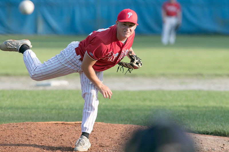 Shrewsbury Dirt Dogs pl;ayed the Lunenburg Phillies at Marshall Par in Lunenburg on Thursday night, July 25, 2019. Phillies pitcher Parker Bigelow delivers a pitch during the game. SENTINEL & ENTERPRISE/JOHN LOVE