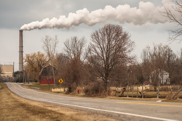 JOED VIERA/STAFF PHOTOGRAPHER-Somerset, NY-Water Vapor escapes the stacks of the Kintigh Generating Station.