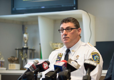 Joed Viera/Staff Photographer Lockport, NY- Niagara County Sheriff James Voutour answers reporters questions during a press conference about the death of 11 year-old Ben Wasik.