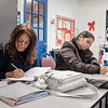 Joed Viera/Staff Photographer-Zulma Maldonado and Lisa Morales work on their punctuation duringl the ESOL class at BOCES.
