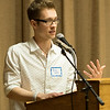 JOED VIERA/STAFF PHOTOGRAPHER-Jordan Kurbs, a Lockport High School alumni and guest speaker encourages students to never stop improving themselves during the Quality Student Awards ceremony Tuesday Night.