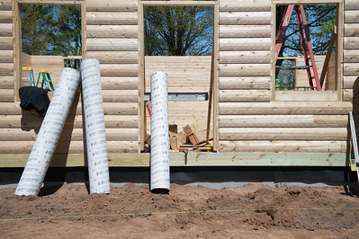 JOED VIERA/STAFF PHOTOGRAPHER-Olcott, NY-Construction continues on Ye Old Log Cabin.