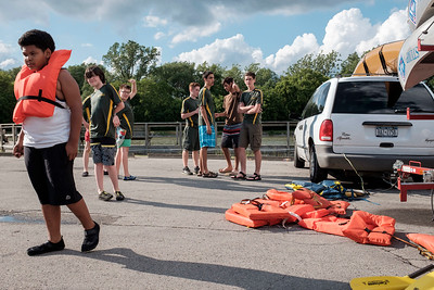 JOED VIERA/STAFF PHOTOGRAPHER-Boy Scouts from Troop 4 out of St Johns Episcopal Church prepare for canoe training along the Canal.