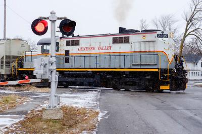 Joed Viera/Staff Photographer-Lockport ,NY-A train chugs across an icy Niagara Street.