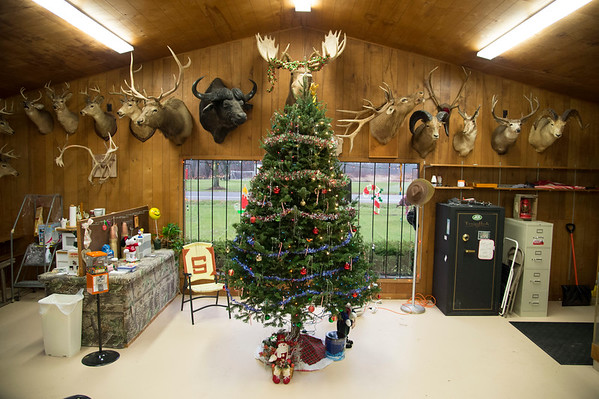 Joed Viera/Staff Photographer-Hunting trophys serves at the backdrop for a Christmas tree at the newly opened Gunsmoke located at the former Cabin Range on Lockport-Olcott Road.