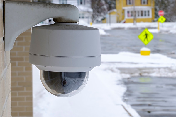 JOED VIERA/STAFF PHOTOGRAPHER-Lockport, NY-A security camera installed outside of Lockport High School.