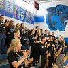 Joed Viera/Staff Photographer-Newfane High School Seniors cheer during a pep rally Friday afternoon. Friday was the last day of school for students before their two week long spring break.