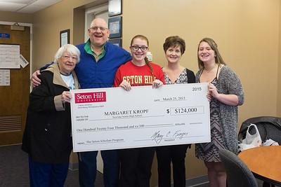 JOED VIERA/STAFF PHOTOGRAPHER- Newfane, NY-Caroline, Steve, Margaret, Jody and Beth Kropf hold a check for a scholarship awarded by Seton Hill University to Margaret.. Wednesday, March 25, 2015.