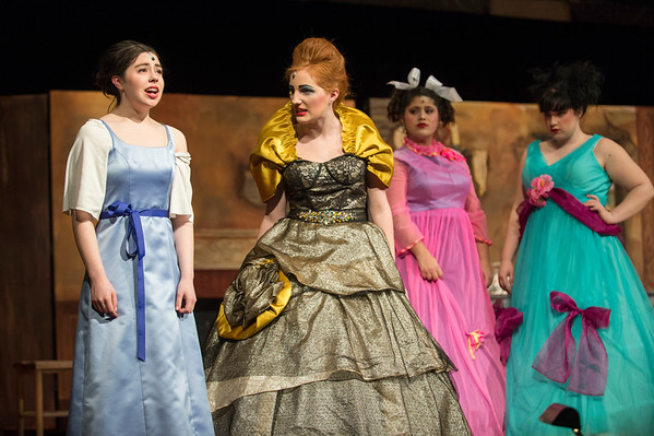 JOED VIERA/STAFF PHOTOGRAPHER-Sophia Weber, Madison Pratt, Adrianna Gutierrez and <br /> Paige Huth perform as Cinderella, Lady Tremaine, Grace and Joy during dress rehearsals for Royalton Hartland's production of Cinderella.