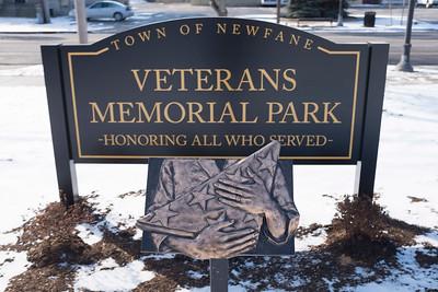 Joed Viera/Staff Photographer-Newfane,NY- A folded flag sculpture stands inside of  Veterans Memorial Park.