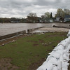 JOED VIERA/STAFF PHOTOGRAPHER-Olcott, NY- Sandbags are installed between the shoreline and Olcott Yacht Club.