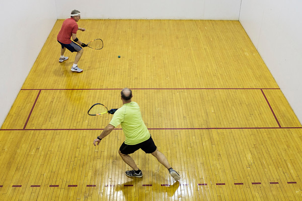 JOED VIERA/STAFF PHOTOGRAPHER-Lockport, NY-Tom Smith and Mike Jones play a game of squash at the YMCA.