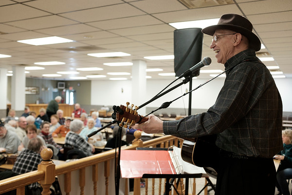 JOED VIERA/STAFF PHOTOGRAPHER-Gasport, NY- Roger Hill performs during the Johnson Creek Seniors bi-monthy Meeting Wednsday afternoon at the Hartland Volunteer Company's hall.