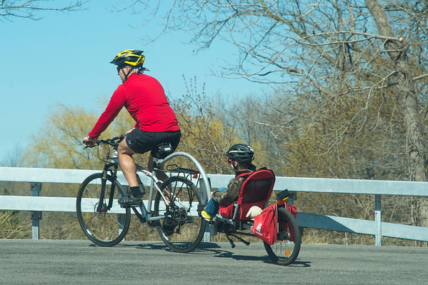 JOED VIERA/STAFF PHOTOGRAPHER-Lockport, NY-Joseph Morello and his son take a bicycle ride over the bridge at Cold Springs Road.