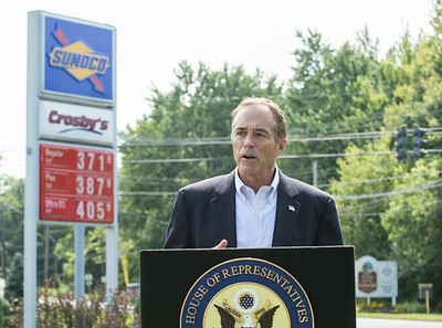 JOED VIERA/STAFF PHOTOGRAPHER-Lockport, NY-United States Congressman Chris Collins speaks at a press conference outside of Crosby's on Lake Avenue on Tuesday, August 19th.