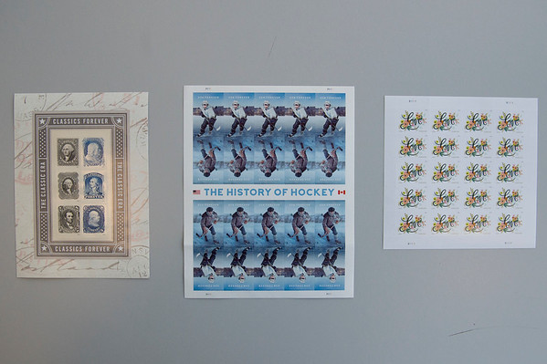 JOED VIERA/STAFF PHOTOGRAPHER-Lockport, NY-A view of popular forever stamps  at the Lockport Post Office. Prices for these stamps are set to go up to 50 cents from 49 on Monday.