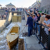 JOED VIERA/STAFF PHOTOGRAPHER-Lockport, NY-  The lock fills up as onlookers check out the Erie Traveler after it passed through the Flight of Five for the first time at the locktenders tribute ceremony.