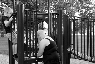 JOED VIERA/STAFF PHOTOGRAPHER-Lockport, NY-   Katie Jo Perry's son Cameron watches his mother at Outwater Park, the day before her surgery.
