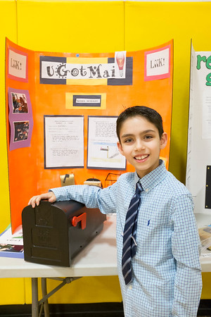 Joed Viera/Staff Photographer-Ayden McNeight shows of uGotMail, a mailbox that lights up when mail is put in so purchasers don't have to come back from their mailboxes empty handed.