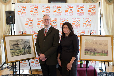 "Joed Viera/Staff Photographer- Lockport, NY-Curator Gerald Mead and Schoen Collection President Louise Simon Schoene stand by Burchfield family paintings set to be featured in the ""Three Generations of Burchfields: Works from the Schoene Collection"" exhibit."
