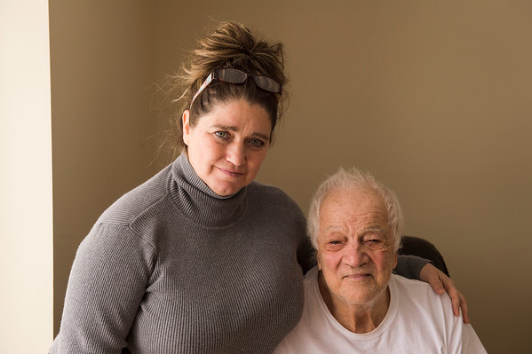 JOED VIERA/STAFF PHOTOGRAPHER-Lockport, NY-Gerryl Kinley and her father Salvatore Mattina in Kinley's home on Bear Ridge Road.
