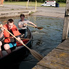 JOED VIERA/STAFF PHOTOGRAPHER-Lockport, NY-Alex and Dan Fogle take their canoe out into the canal at Nelson C. Goehle Marina.