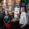 Joed Viera/Staff Photographer-Kevin and Kelly Krupski look on as Perry's Ice Cream president Brian Perry thanks the NYBP owners for helping raise $10,000 for the Oishei Childrens Hospital at the brewery Friday evening. The ice cream giant and brewery collaborated to release 5 craft beers inspired by Perry's ice cream flavors with a $1 of each pint sold going towards the hospital. Their goal was to sell 10,000 pints by Memorial Day, they reached that goal Friday.