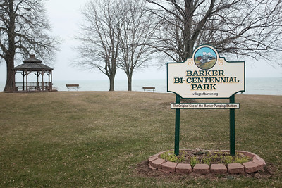 JOED VIERA/STAFF PHOTOGRAPHER-Barker Bi-Centennial Park Tuesday afternoon. The Village of Barker is receiving almost $50,000 in state funds to construct a new break-water after the park has lost 18-24 inches of shoreline from erosion exposing tree-roots and pipes.