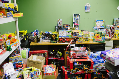 JOED VIERA/STAFF PHOTOGRAPHER Lockport, NY- Toys donated to the Salvation Army fill a room in the Lockport Youth and Recreation Center. Thursday, December 18, 2014