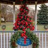 Joed Viera/Staff Photographer-Ribbons fill the Christmas tree under the gazebo at Childrens Memorial Park.