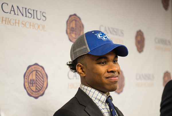 Joed Viera/Staff Photographer-<br /> Lockport native Kenyatta Huston, a senior at Canisius High School, after signing his national letter of intent to play football at NCAA Division I Central Connecticut State.