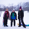 JOED VIERA/STAFF PHOTOGRAPHER-Lockport, NY- Joshua McClain,11,  Jack Keleher,11, and Jessica McClain, 14, after sledding down a hill at Lockport Town and Country Club.